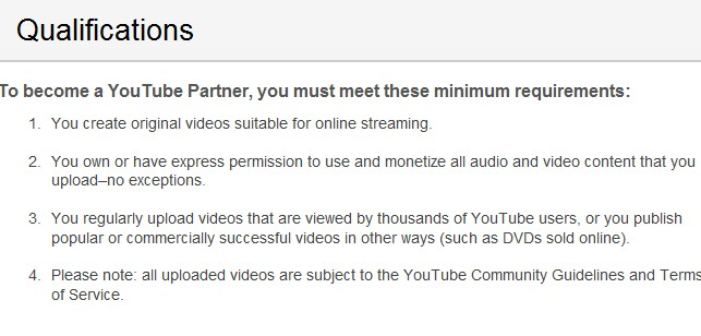 requirements for youtube partner program
