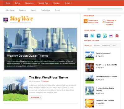 magwire Free Premiun WordPress Magazine Themes