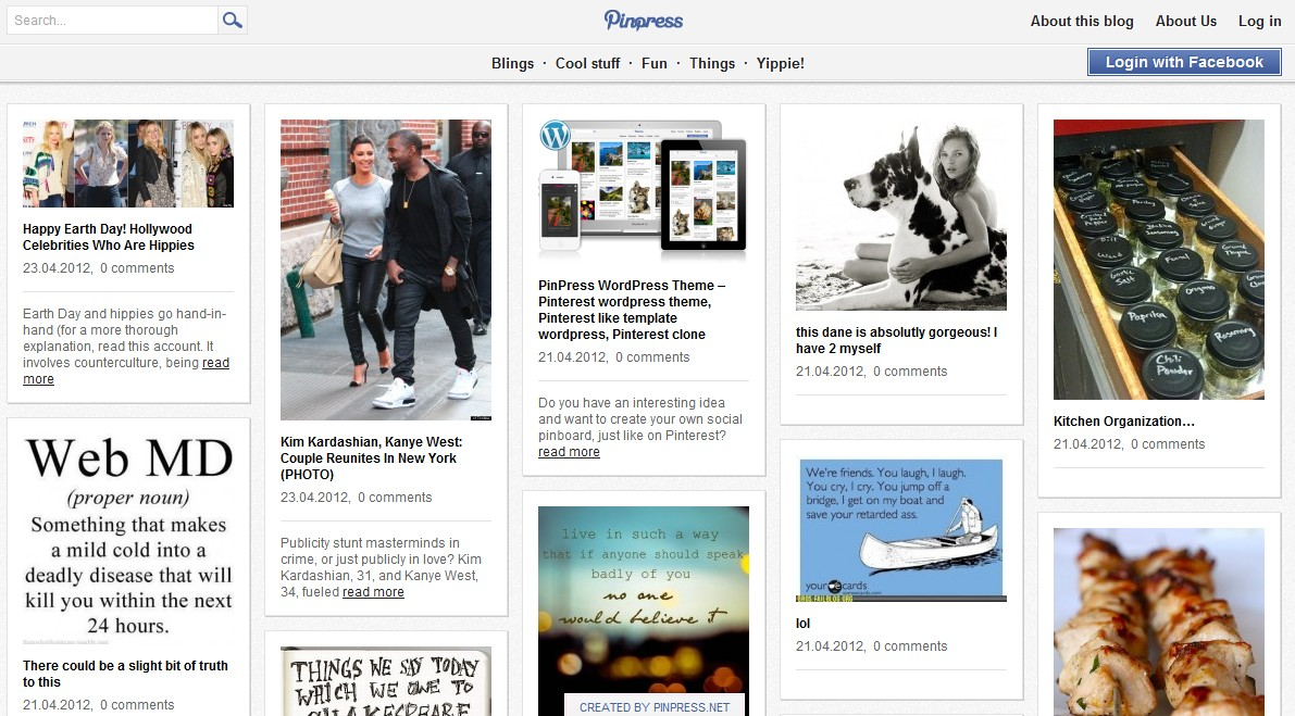 pinpress pinterest like wordpress theme