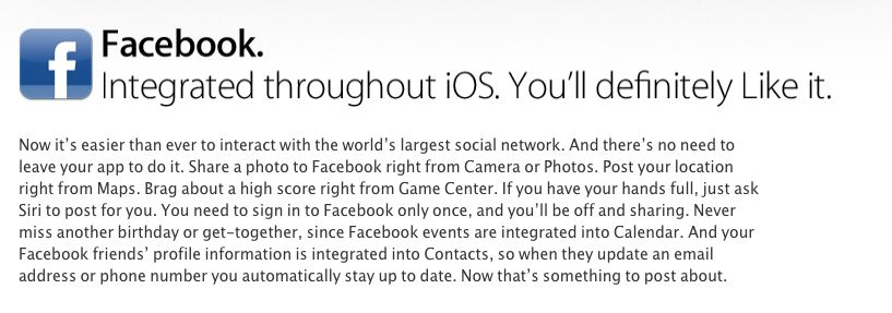Facebook integration with ios 6