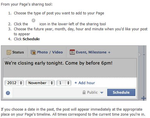 schedule posts on facebook pages